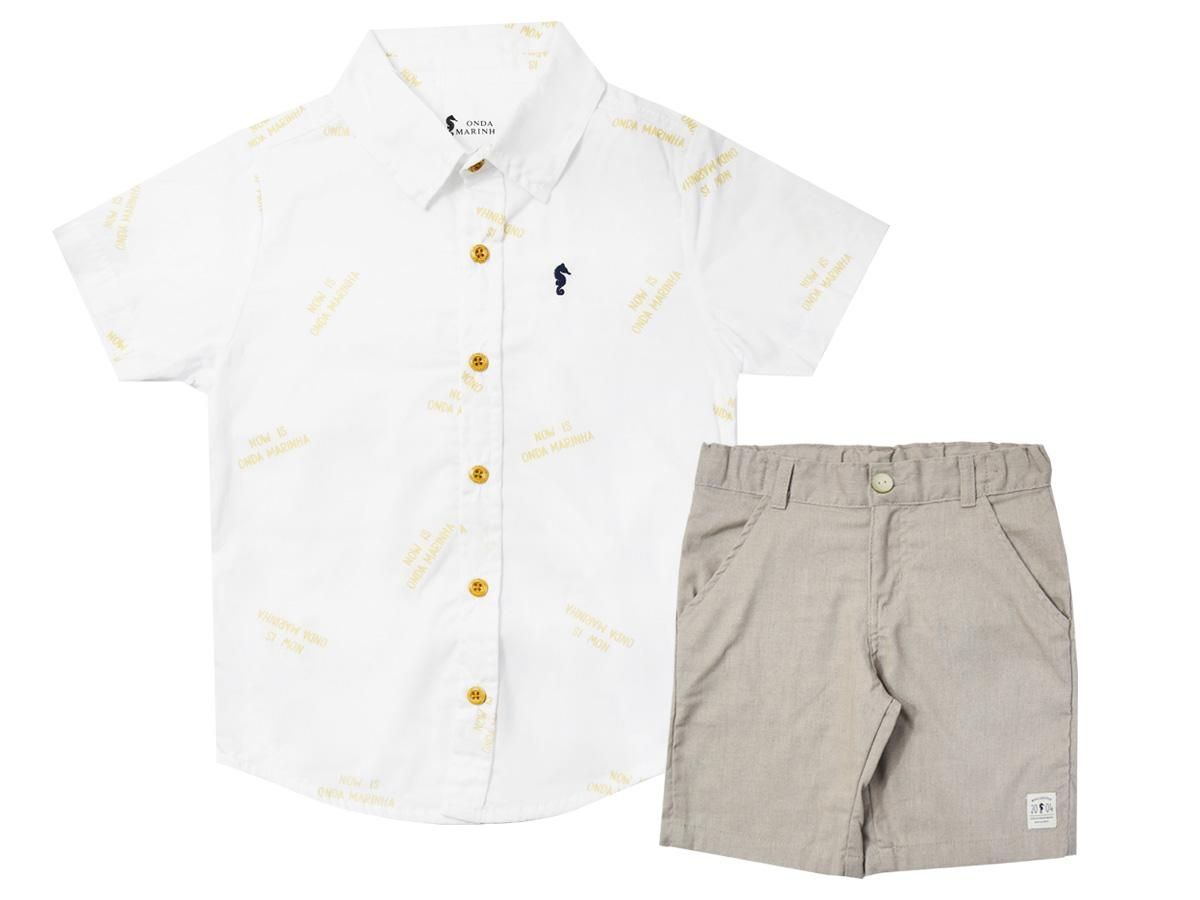 Conjunto Camisa Branca e Bermuda Onda Marinha A2526