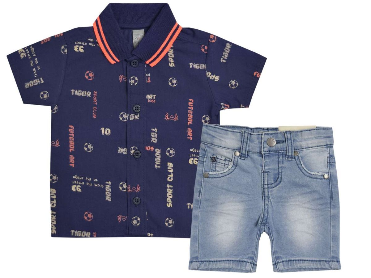Conjunto Camisa e Bermuda Jeans Tigor T.Tigre