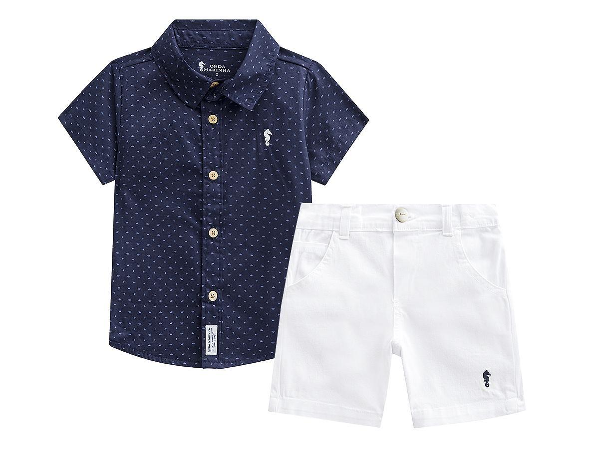 Conjunto Camisa e Bermuda Onda Marinha A2487