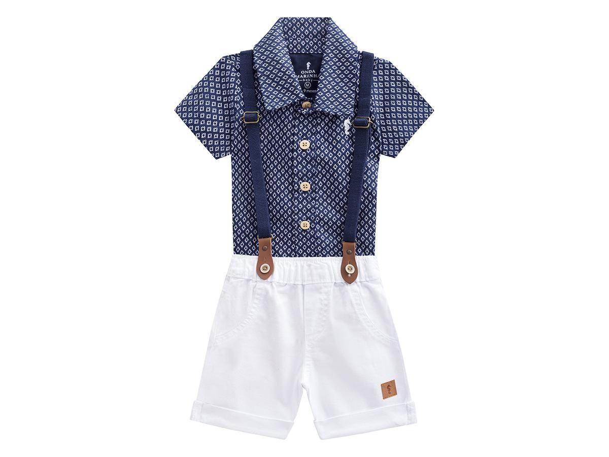 Conjunto Camisa e Shorts com Suspensório Onda Marinha A2473