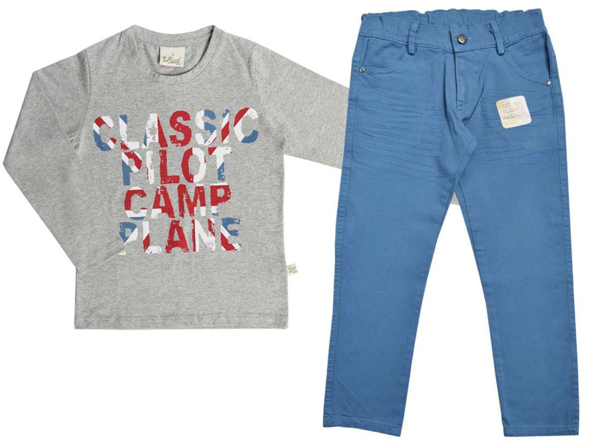 Conjunto Camisa Manga Longa Cinza e Calça Azul Le Petit