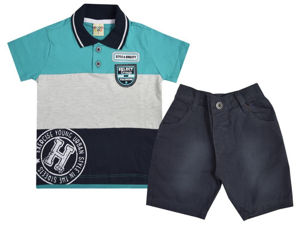Conjunto Camisa Polo Cinza e Bermuda Have Fun