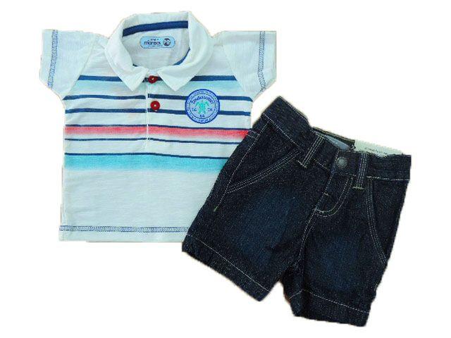 Conjunto Camisa Polo e Bermuda Jeans Marisol
