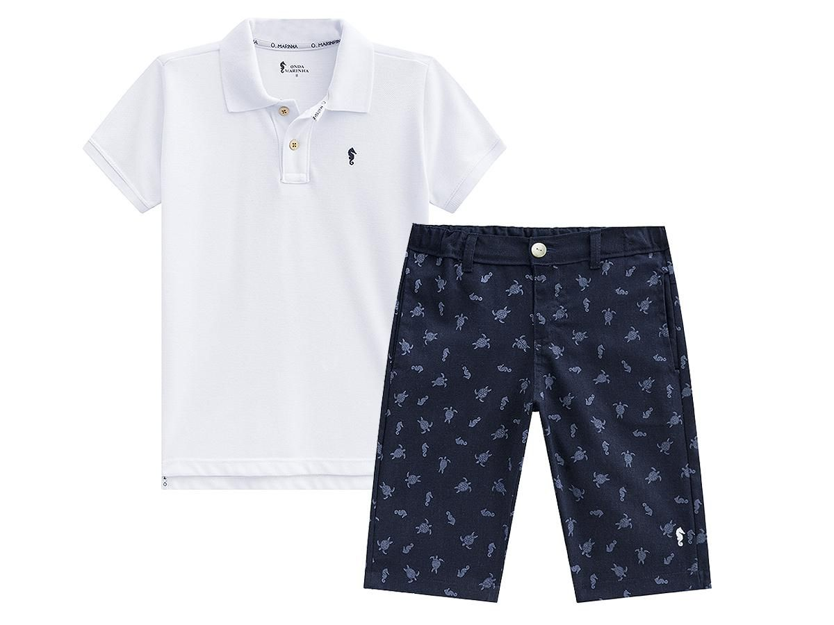 Conjunto Camisa Polo e Bermuda Onda Marinha A2540