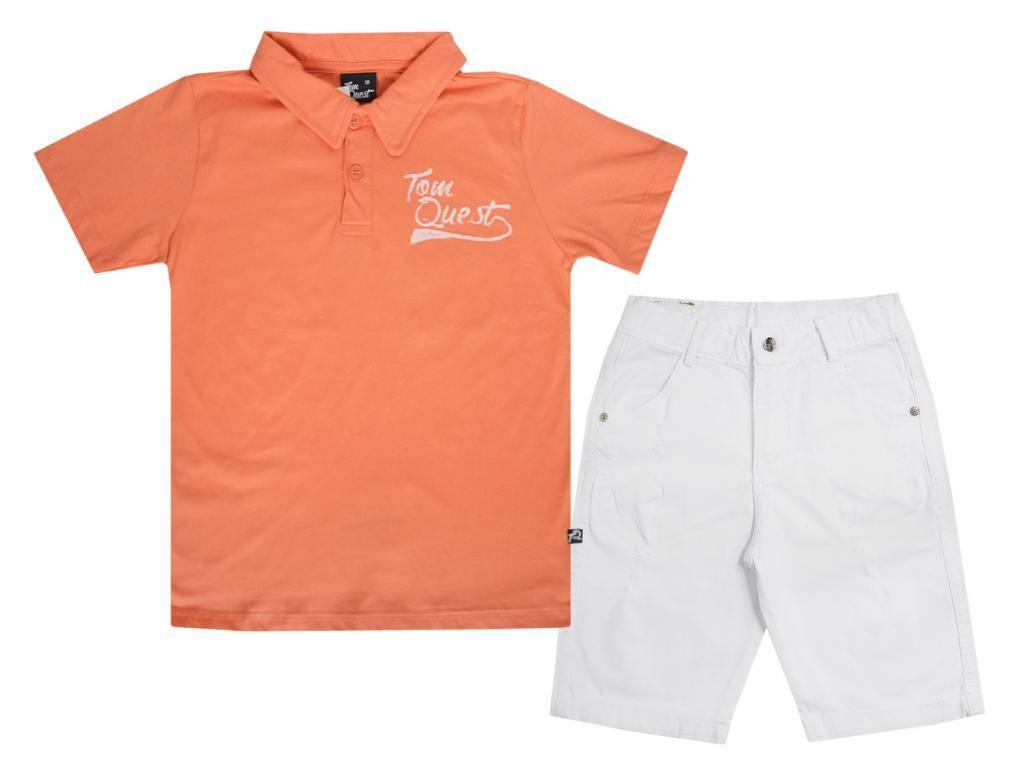 Conjunto Camisa Polo Laranja e Bermuda Branca Tom Quest