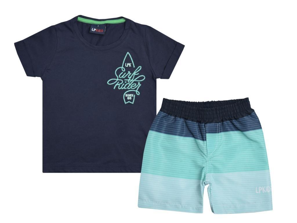 Conjunto Camiseta Azul Marinho e Bermuda Tactel Le Petit