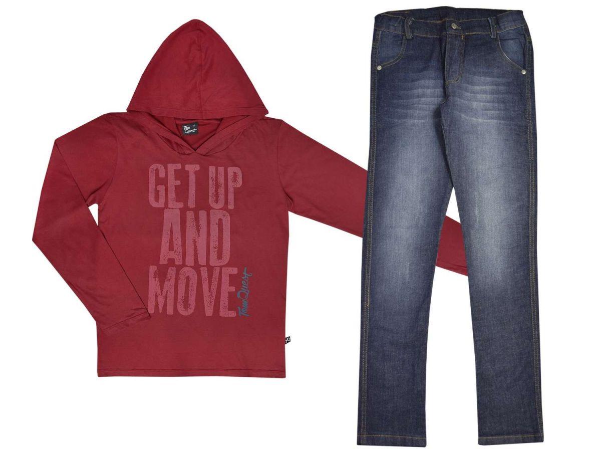 Conjunto Camiseta com Capuz e Calça Jeans Tom Quest