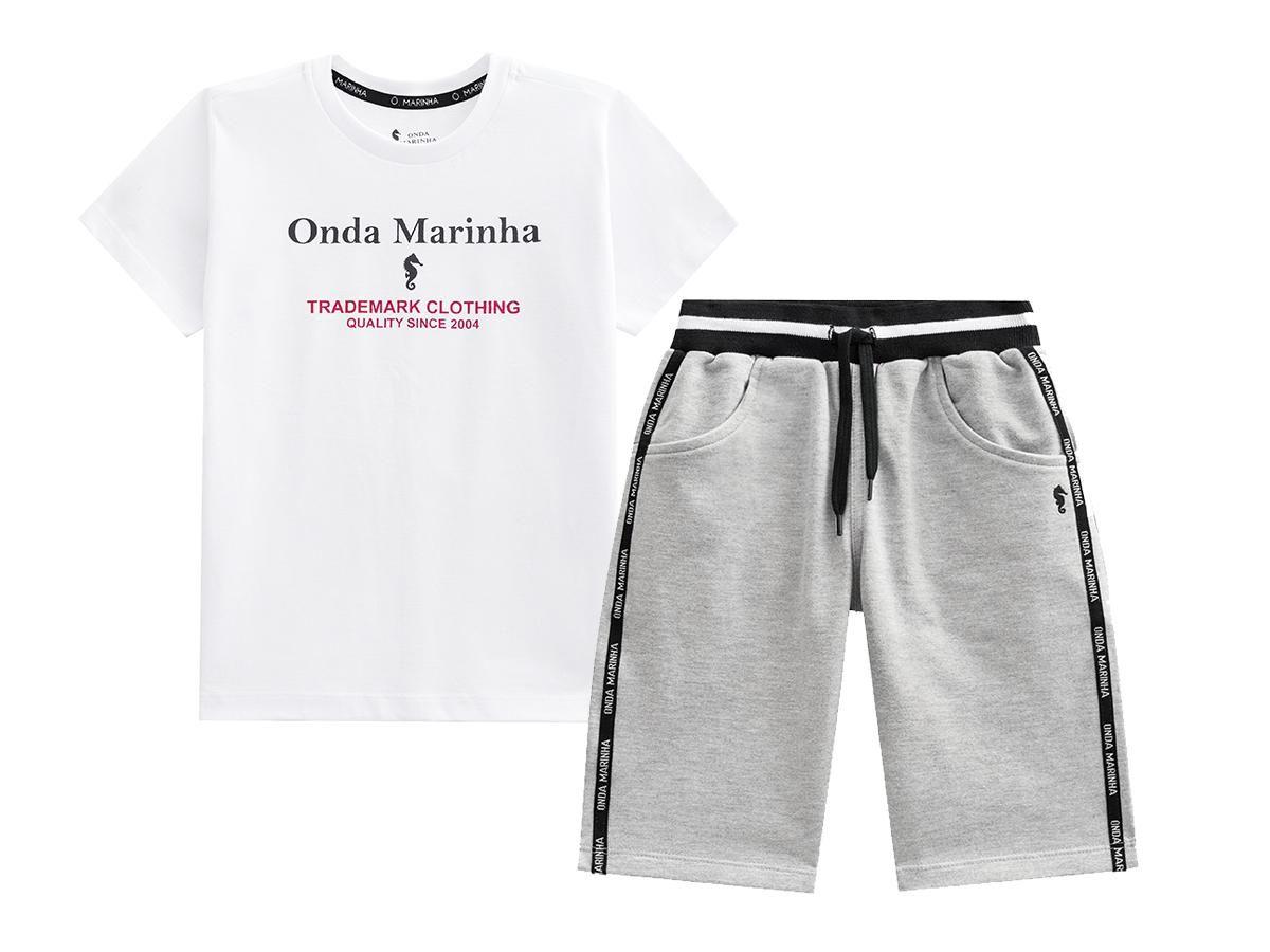 Conjunto Camiseta e Bermuda Moletom Onda Marinha A2515