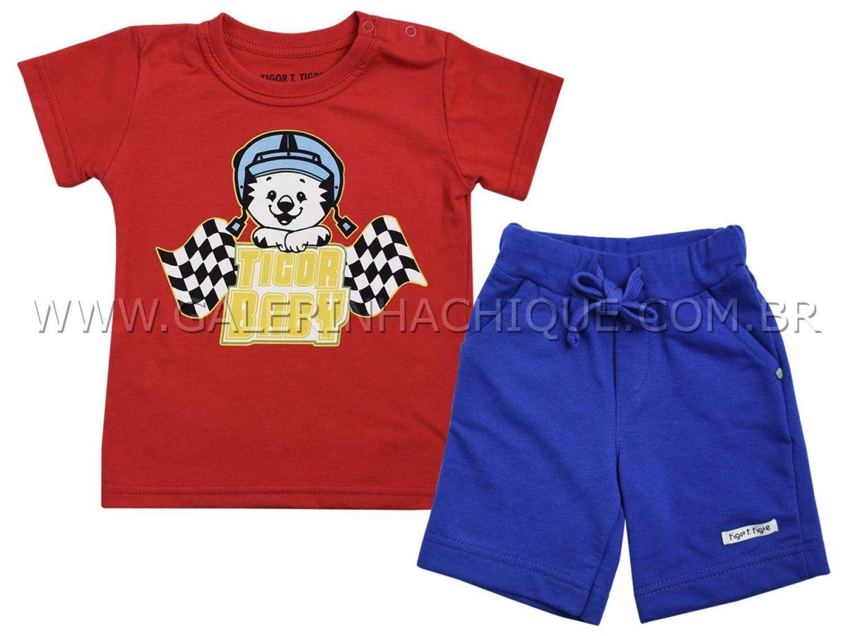 Conjunto Camiseta e Bermuda Moletom Tigor T.Tigre Baby Corrida