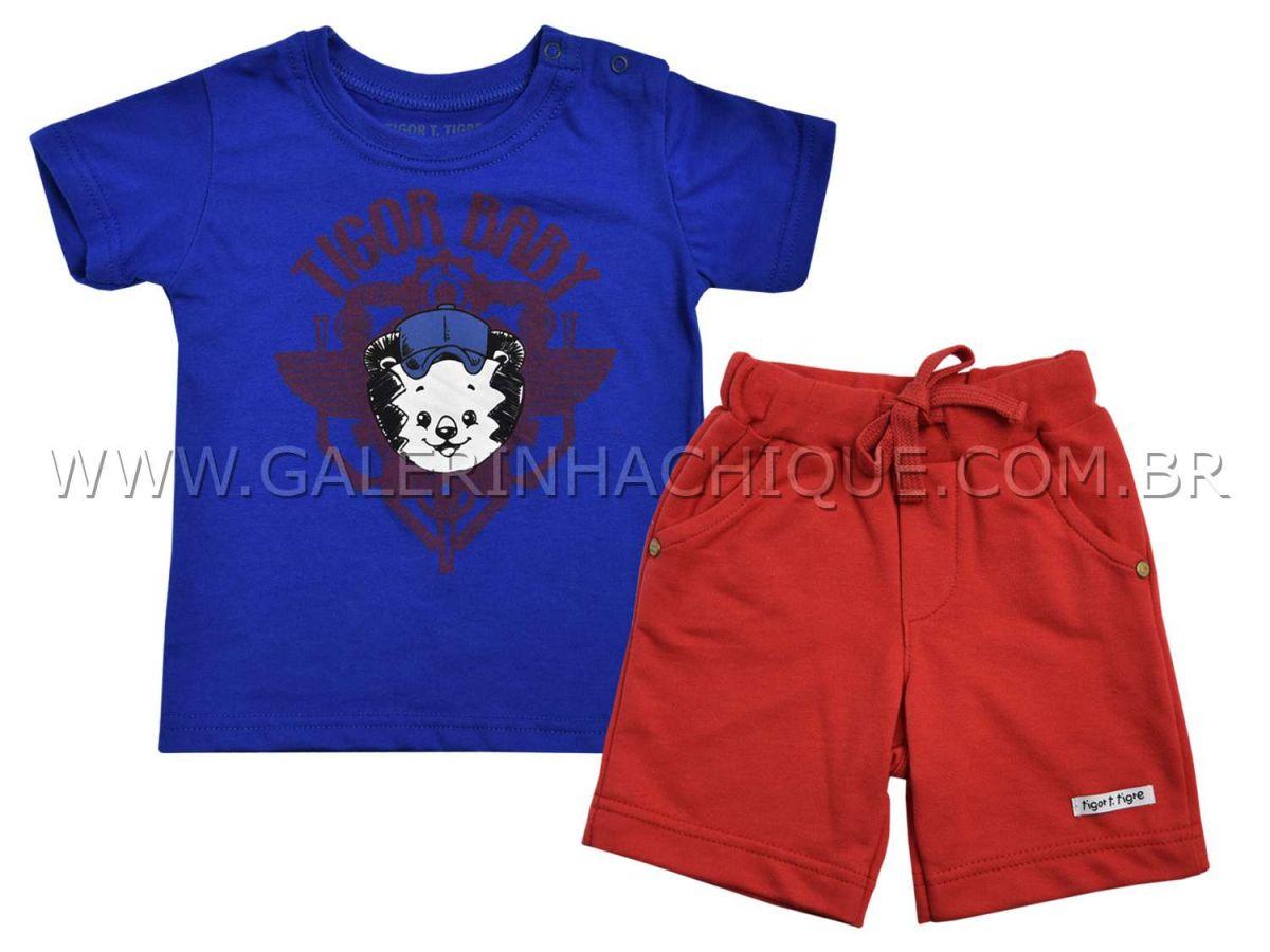 Conjunto Camiseta e Bermuda Moletom Tigor T.Tigre Baby Face