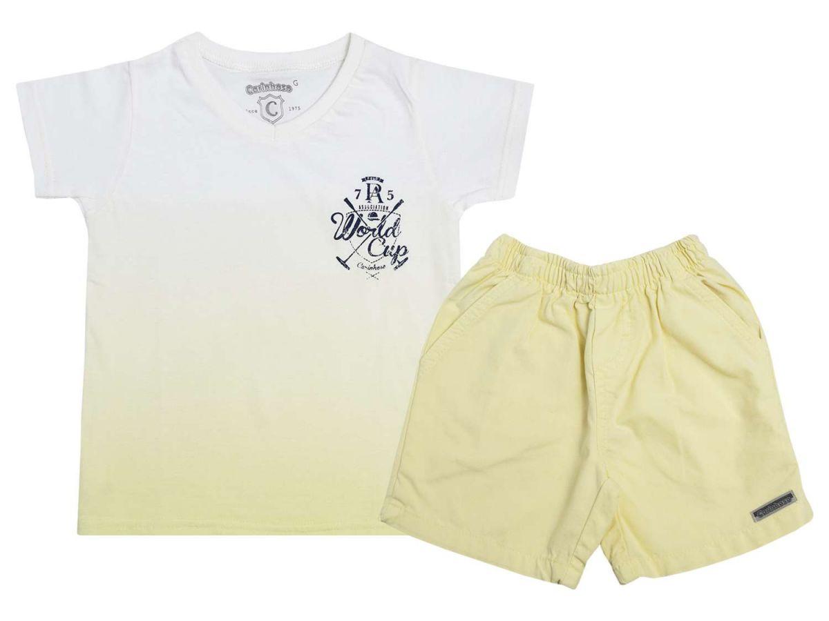 Conjunto Camiseta e Bermuda Sarja Amarela Carinhoso