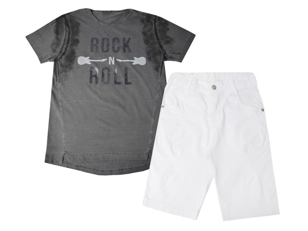 Conjunto Camiseta e Bermuda Sarja Branca Tom Quest