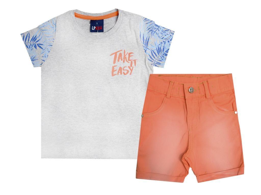 Conjunto Camiseta e Bermuda Sarja Laranja Le Petit