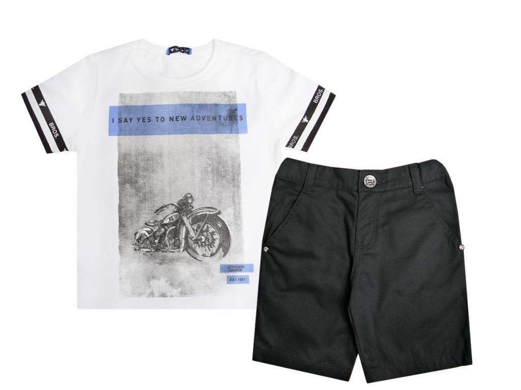 Conjunto Camiseta e Bermuda Sarja Preta Turma da Malha