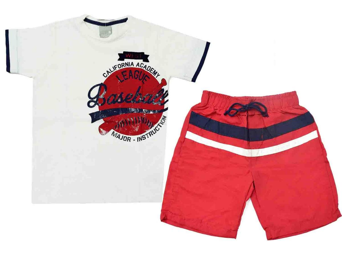Conjunto Camiseta e Bermuda Vermelha Carinhoso