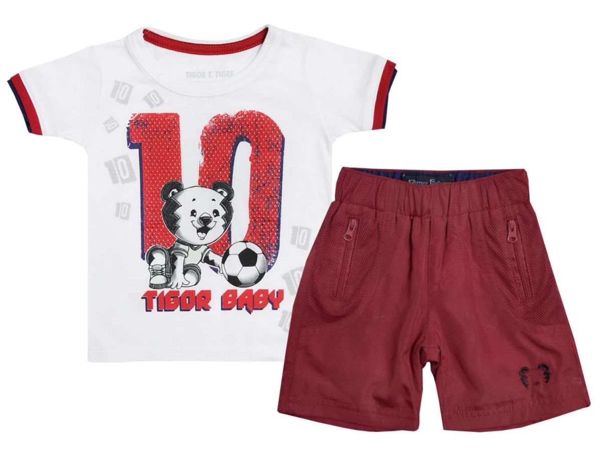 Conjunto Camiseta e Bermuda Vermelha Tigor T.Tigre