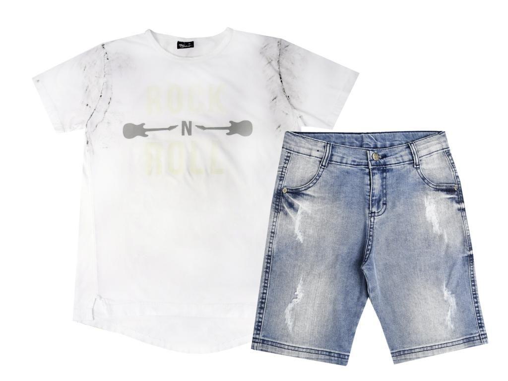 Conjunto Camiseta Estampada Branca e Bermuda Jeans Tom Quest