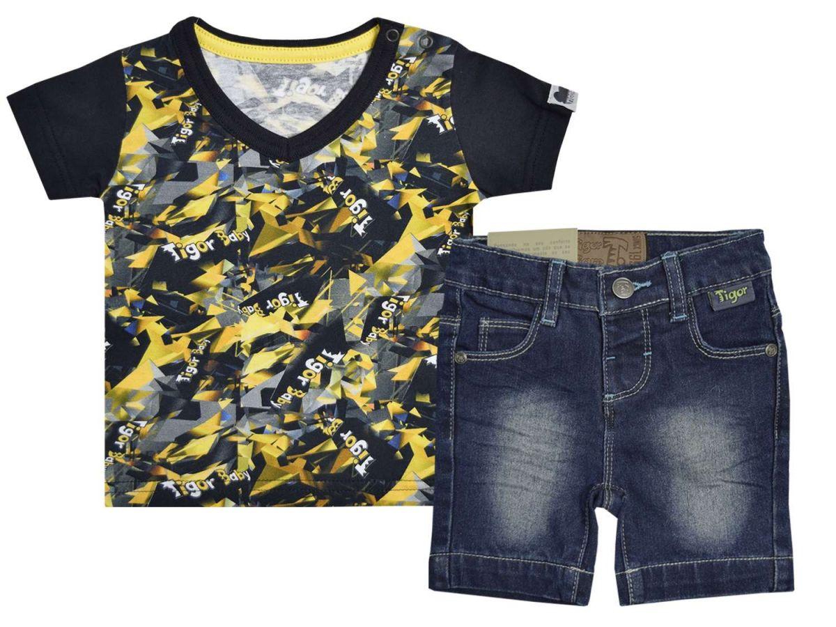 Conjunto Camiseta Estampada e Bermuda Jeans Tigor T.Tigre
