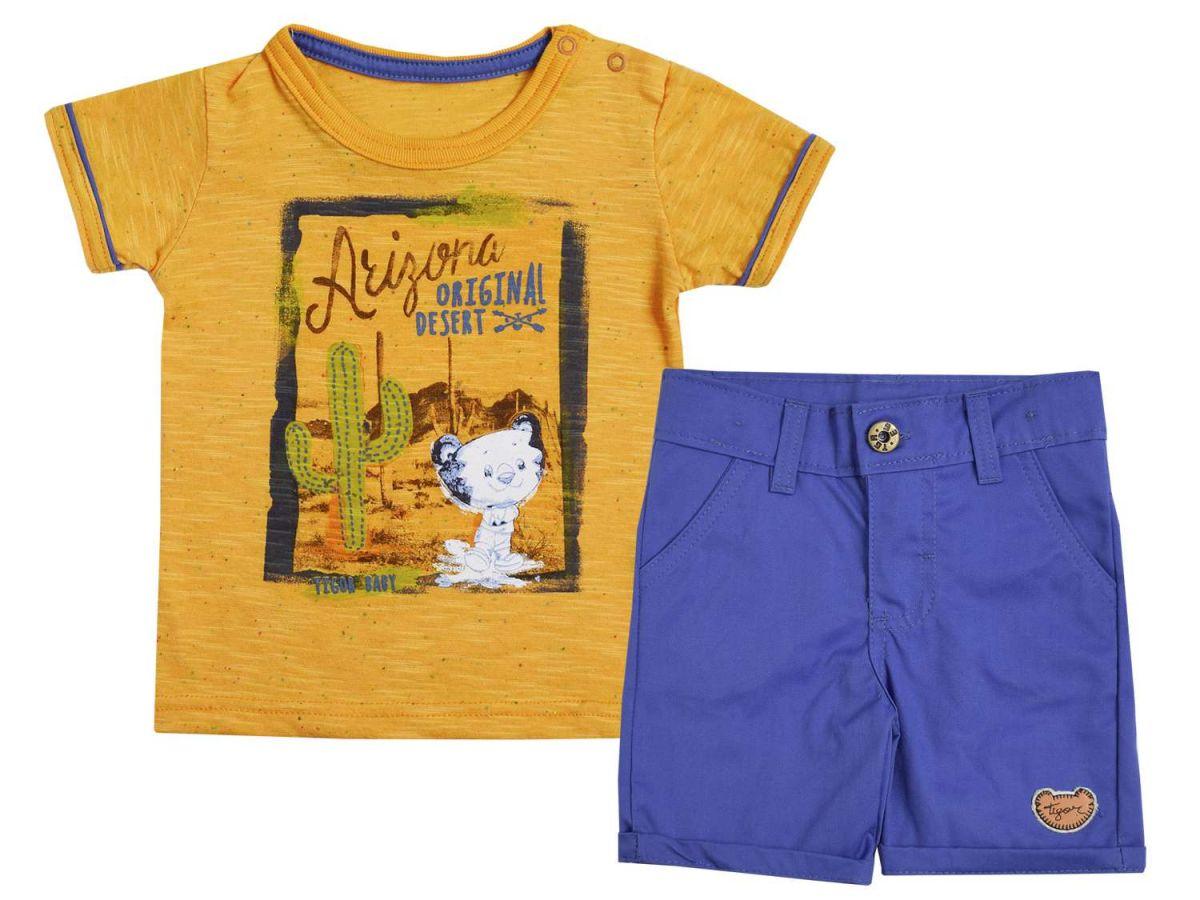 Conjunto Camiseta Laranja e Bermuda Tigor T.Tigre