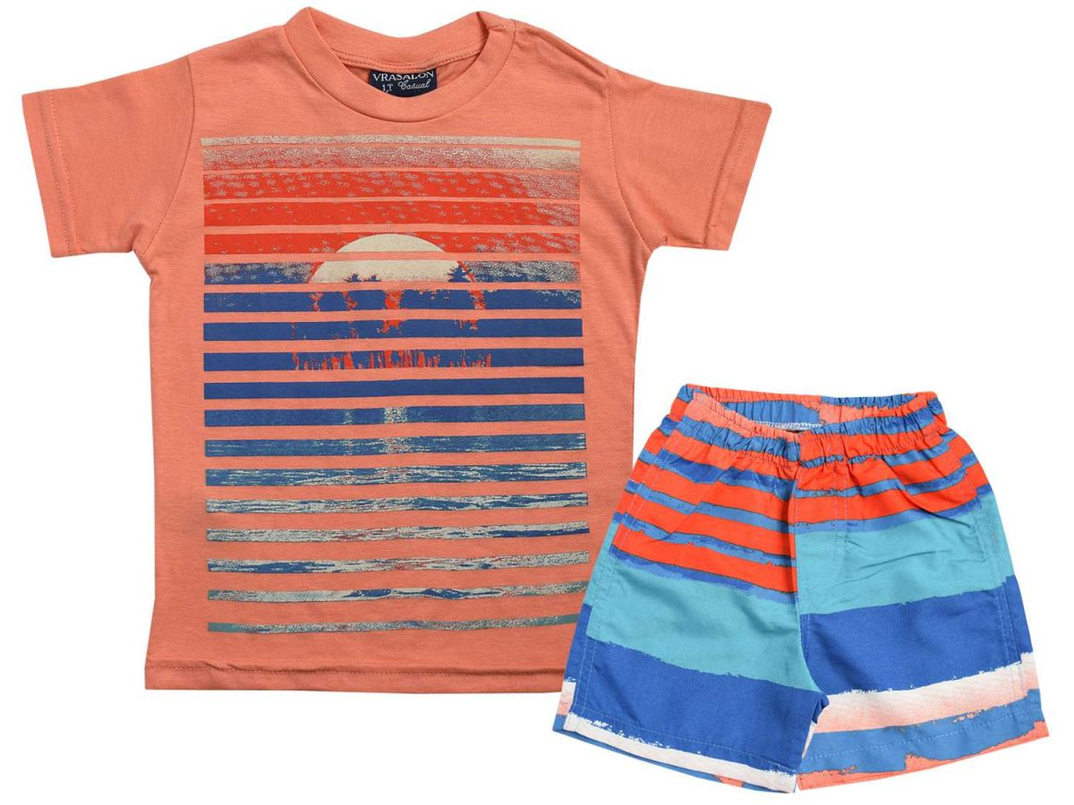 Conjunto Camiseta Laranja e Bermuda Vrasalon