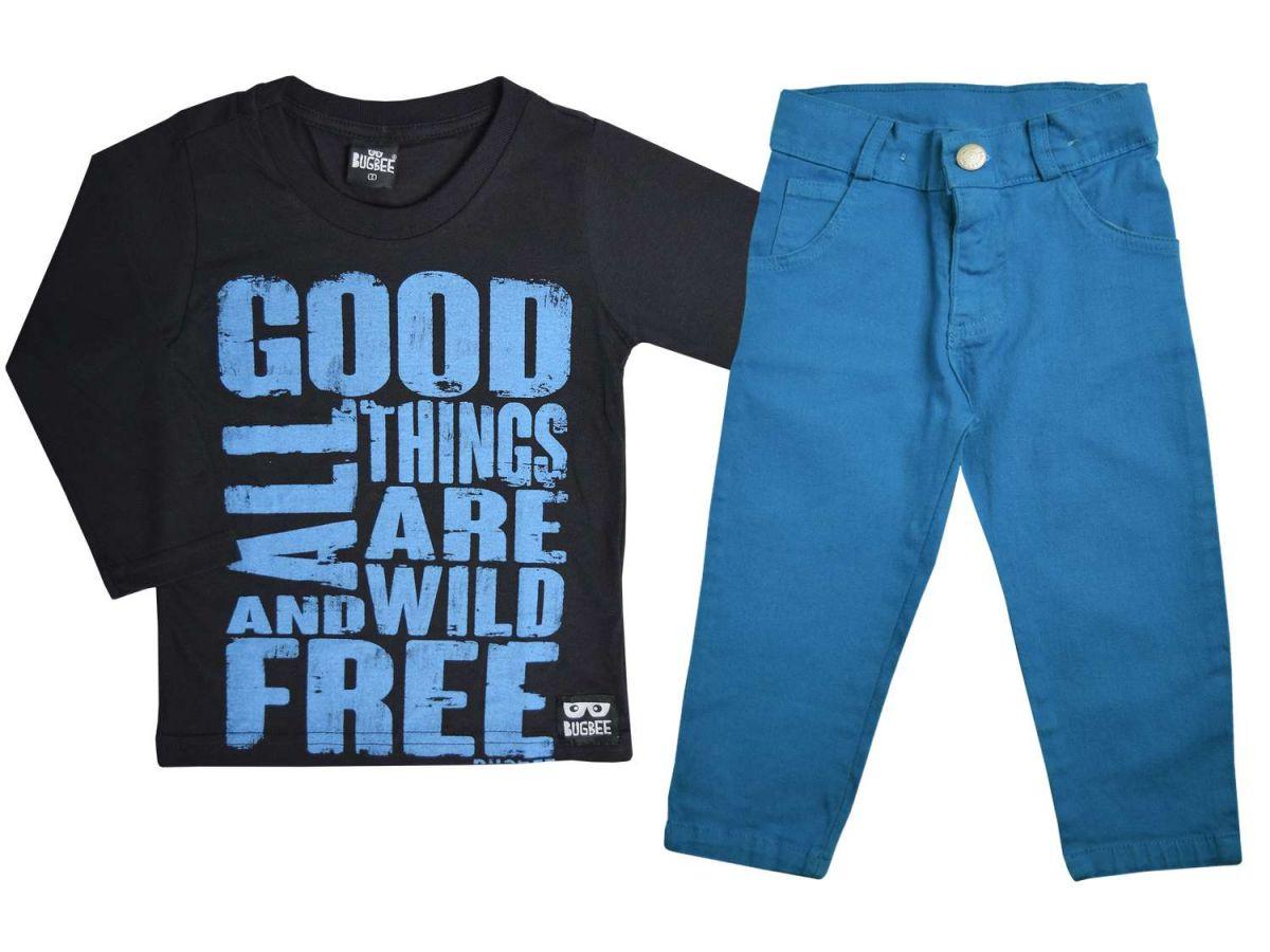 Conjunto Camiseta Manga Longa e Calça Azul Bugbee