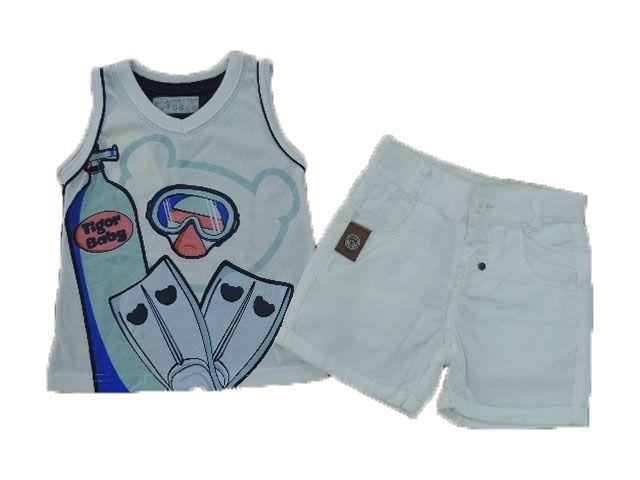 Conjunto Camiseta Regata e Bermuda Sarja Tigor T. Tigre