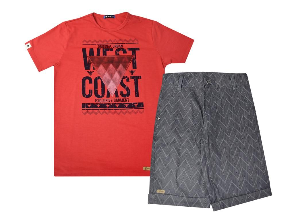Conjunto Camiseta Vermelha e Bermuda Sarja Turma da Malha