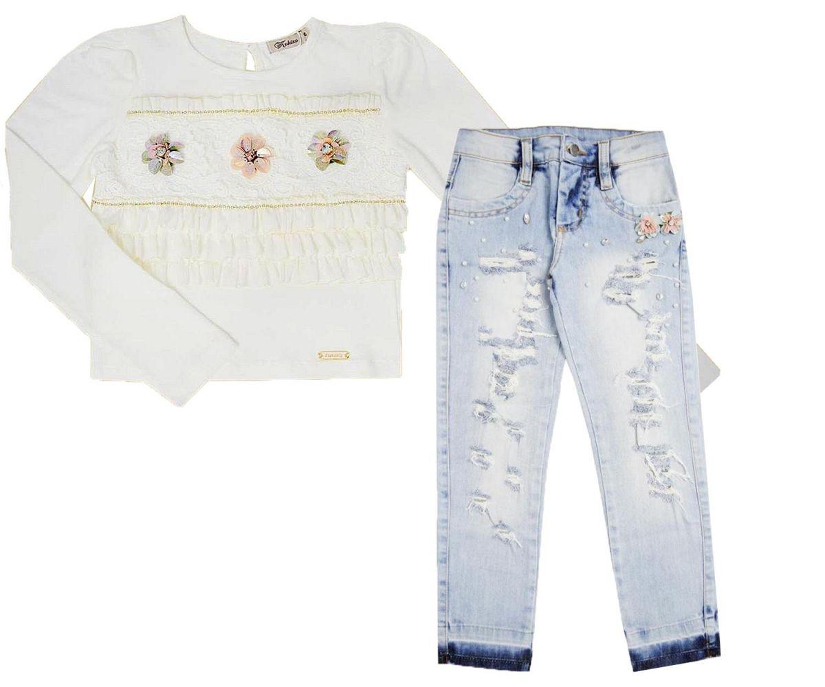 Conjunto Cropped e Calça Pedraria Jeans Kuxixo