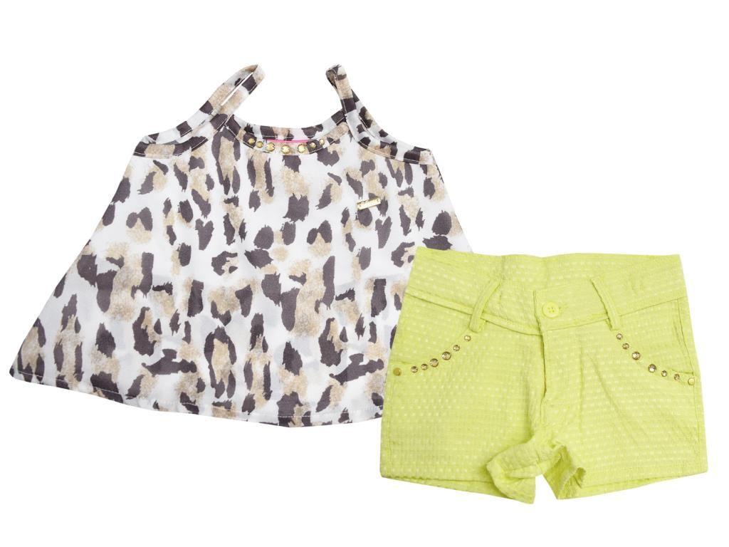 Conjunto Cropped Oncinha e Shorts Le Petit