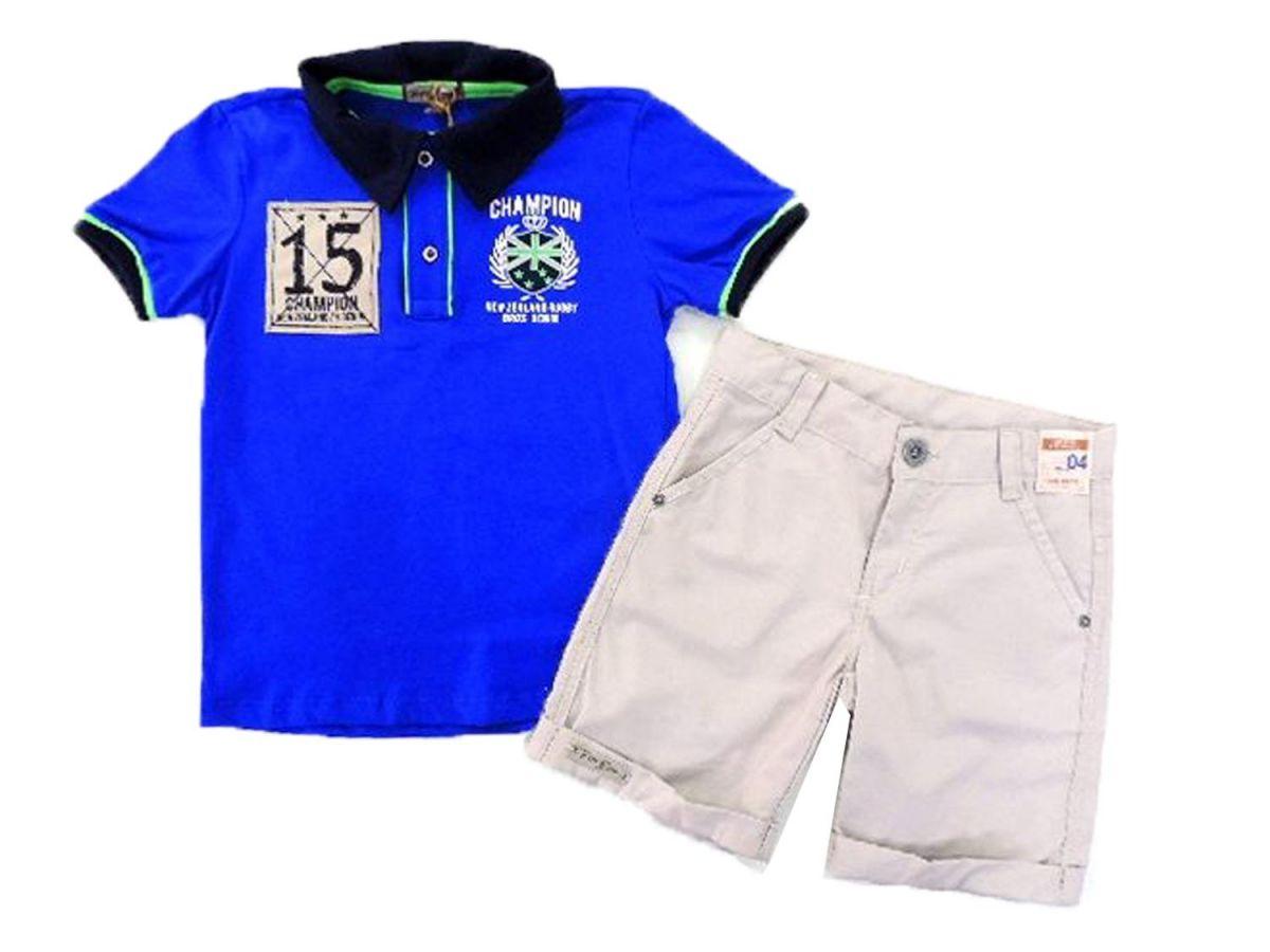 Conjunto Juvenil Camisa Polo Azul e Bermuda Trm Bross
