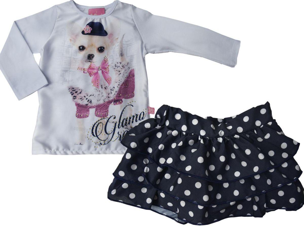 Conjunto Le Petit Blusa e Saia Poá