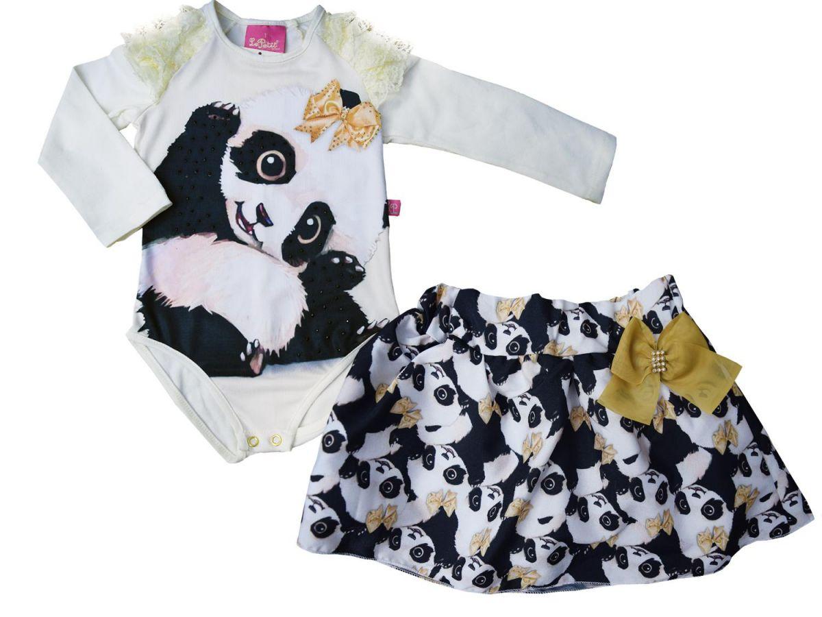 Conjunto Le Petit Body e Saia Panda
