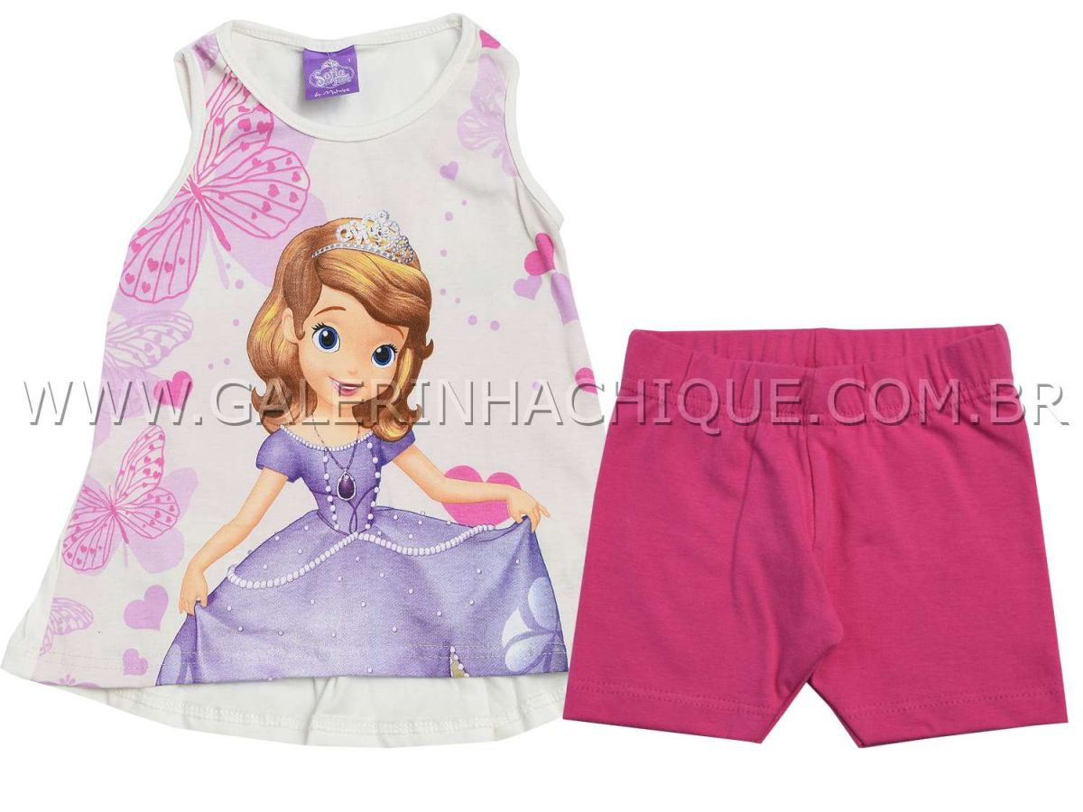 Conjunto Malwee Bata e Shorts Princesa Sofia