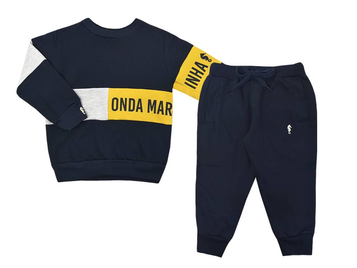 Conjunto Masculino Blusa e Calça Moletom Onda Marinha