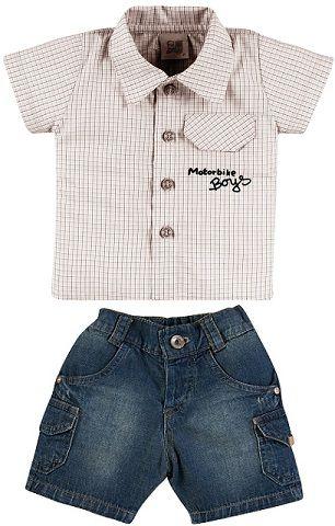 Conjunto Masculino Camisa e Bermuda Jeans Zig Mundi
