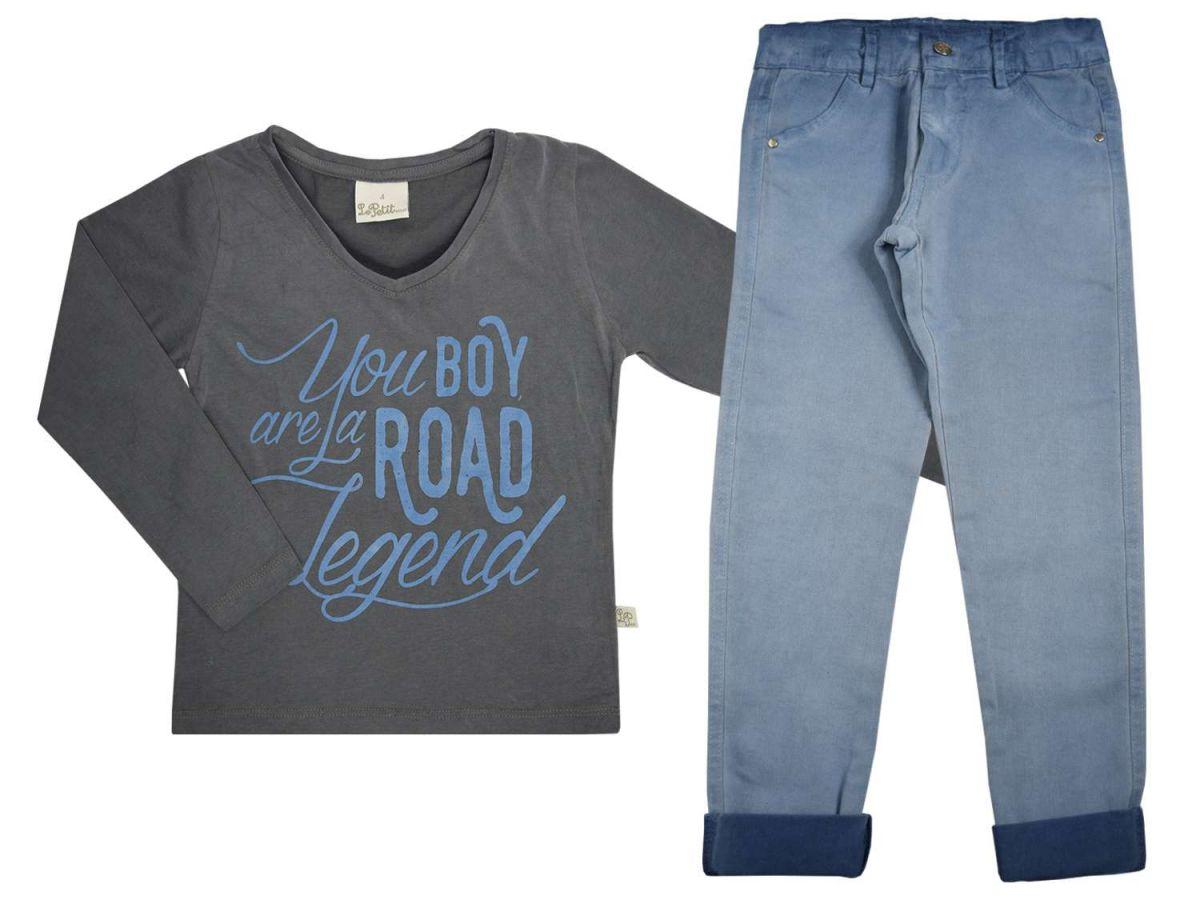 Conjunto Masculino Camiseta Chumbo e Calça Jeans Le Petit