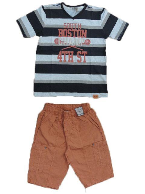 Conjunto Masculino Camiseta e Bermuda Laranja Turma da Malha