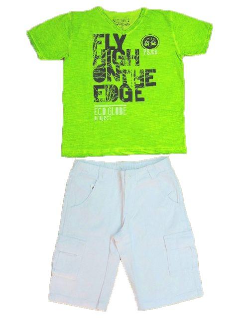 Conjunto Masculino Camiseta e Bermuda Sarja Branca Passagem Secreta