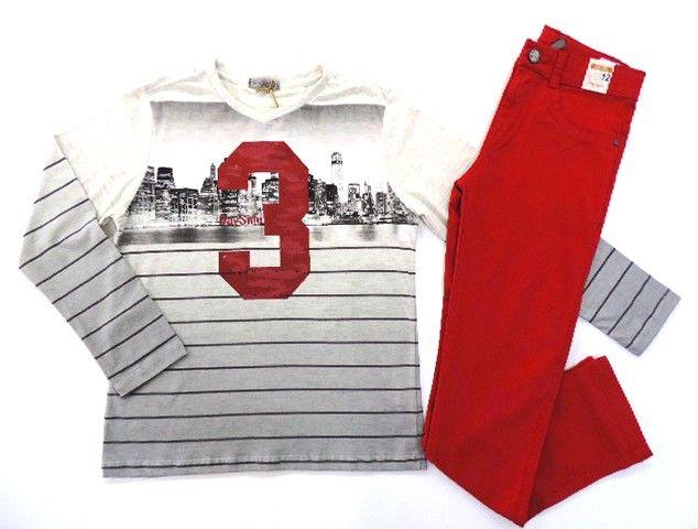 Conjunto Masculino Camiseta e Calça Sarja VermelhaTurma Da Malha