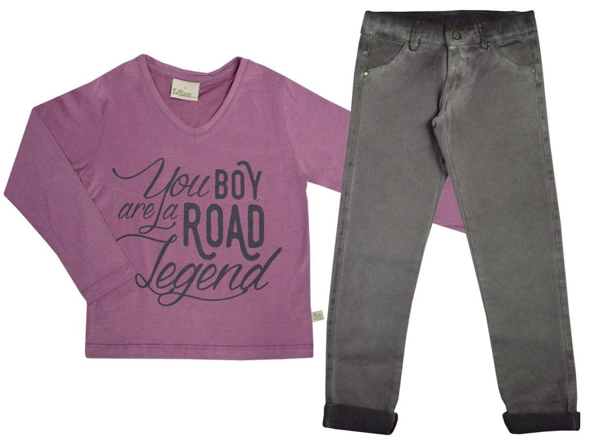 Conjunto Masculino Camiseta Rosa e Calça Jeans Le Petit