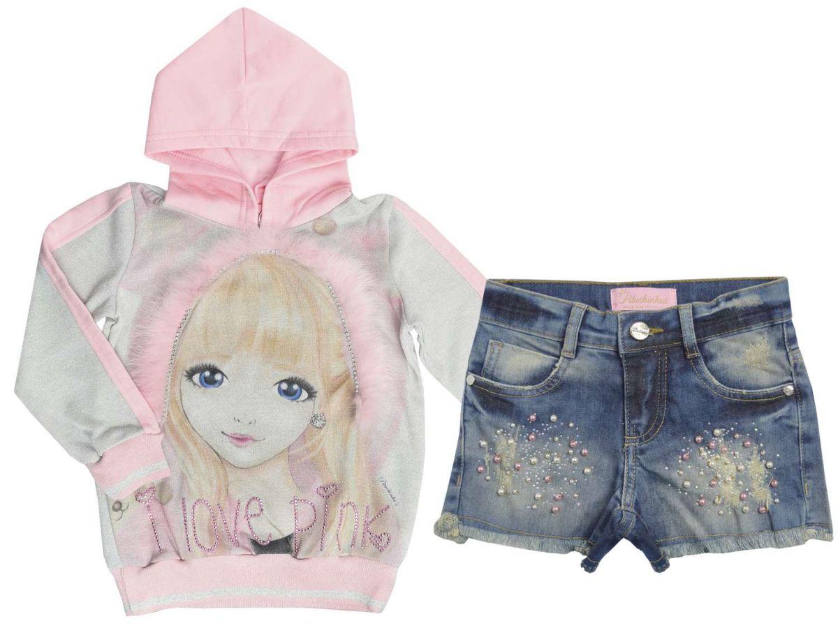 Conjunto Moletom e Shorts Jeans Pituchinhus