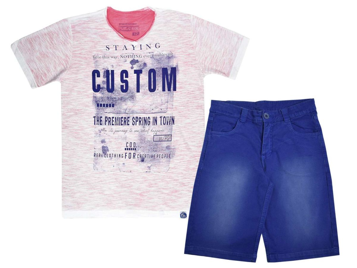 Conjunto Passagem Secreta Camiseta e Bermuda Azul
