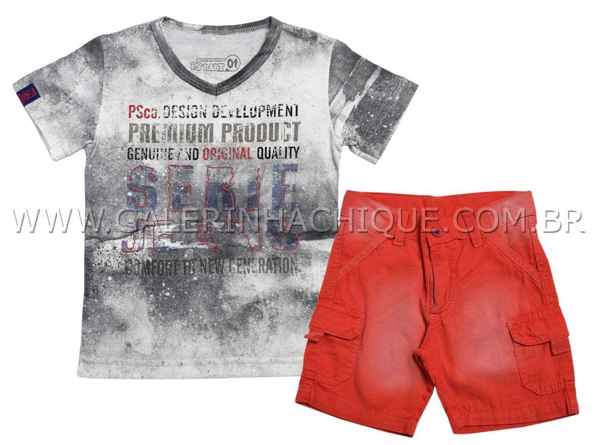 Conjunto Passagem Secreta Camiseta e Bermuda Vermelha