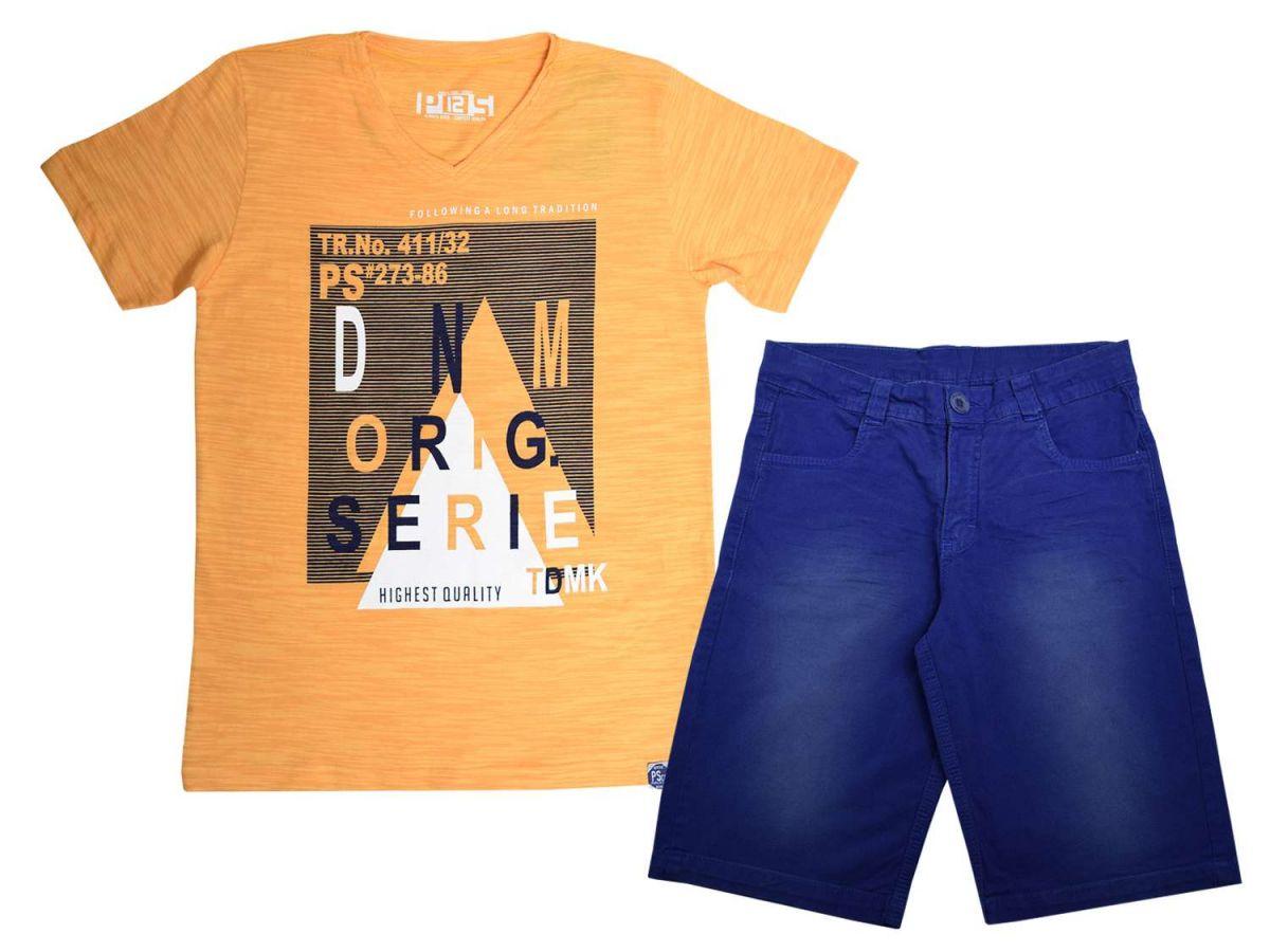 Conjunto Passagem Secreta Camiseta Laranja e Bermuda