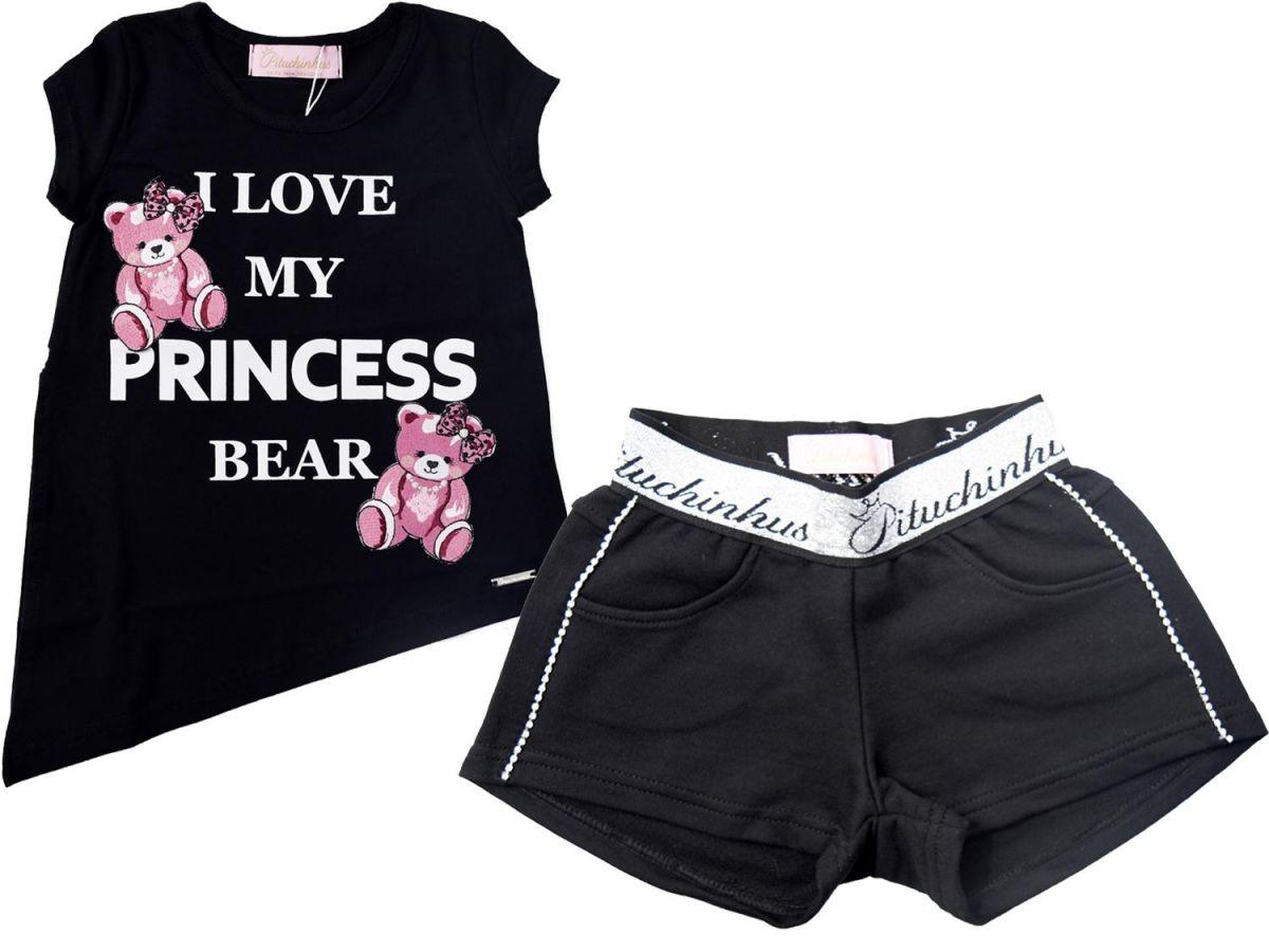 Conjunto Pituchinhus Shorts e Camiseta Ursinha C1852018553