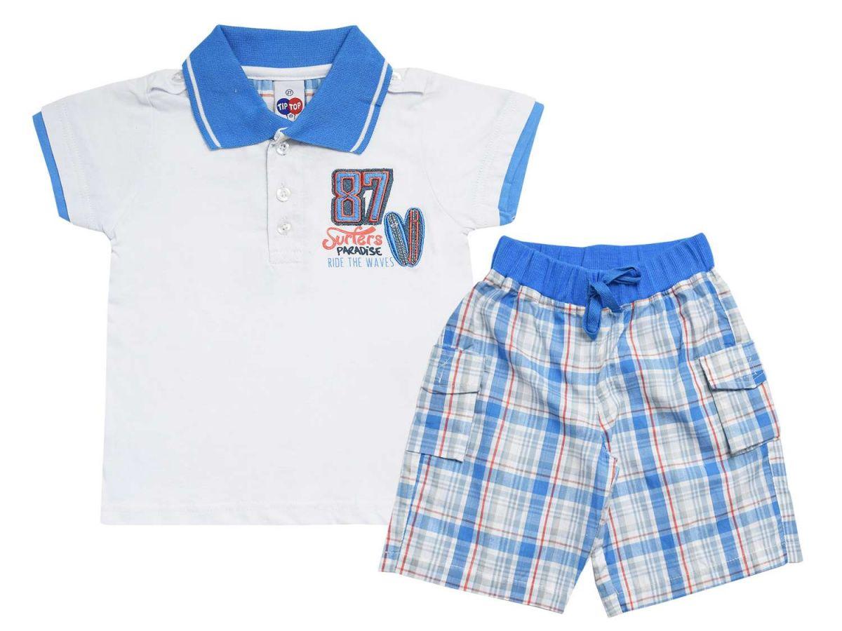 Conjunto Polo e Bermuda Azul Tip Top
