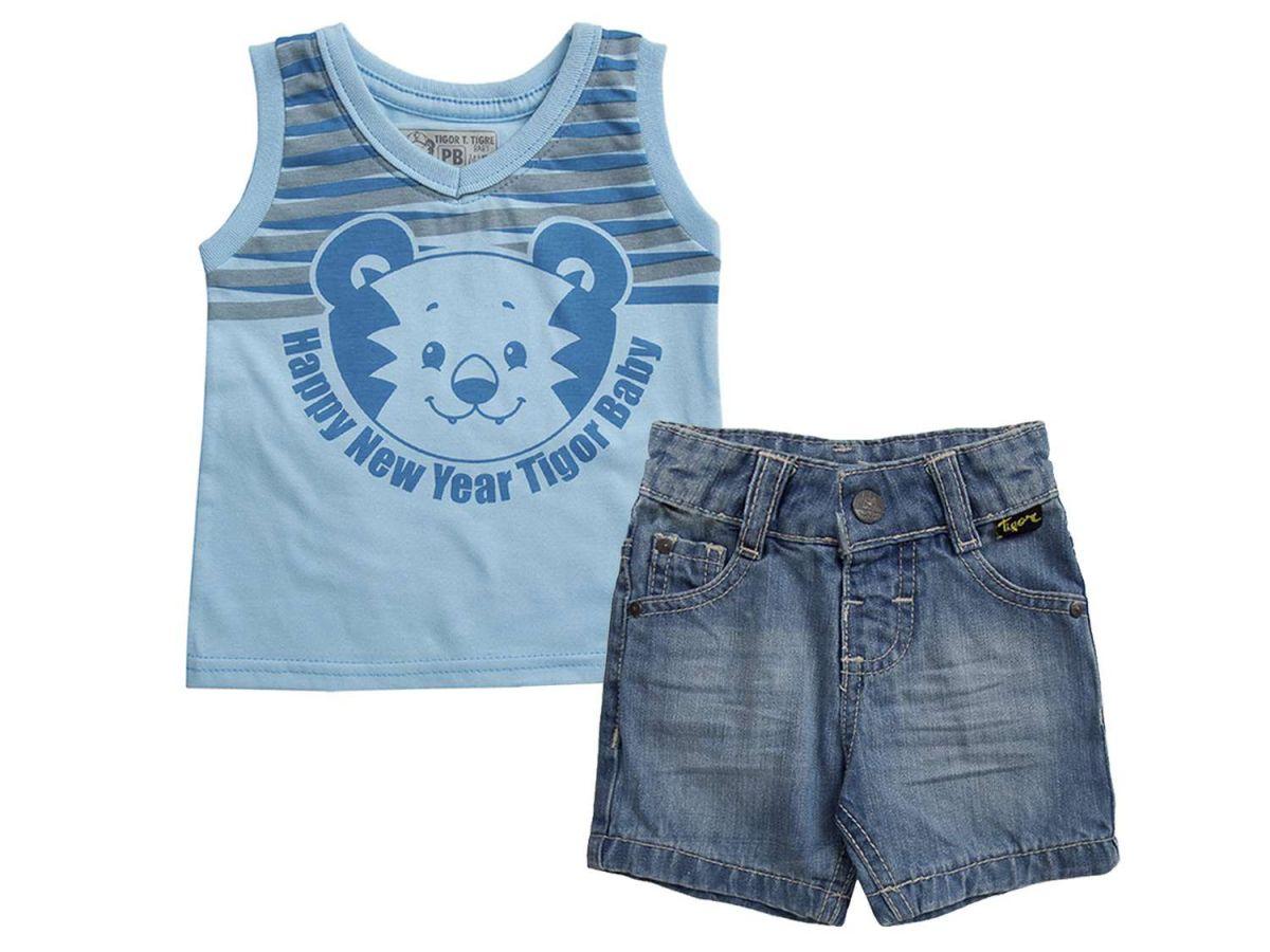 Conjunto Regata e Bermuda Jeans Tigor T. Tigre Azul