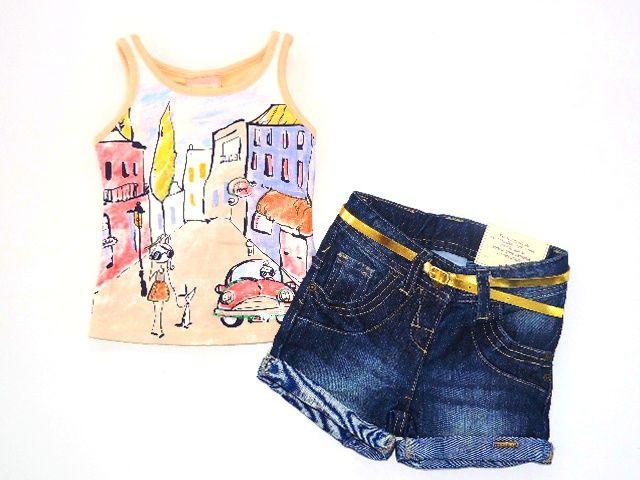 Conjunto Regata e Short Jeans Com Cinto Marisol