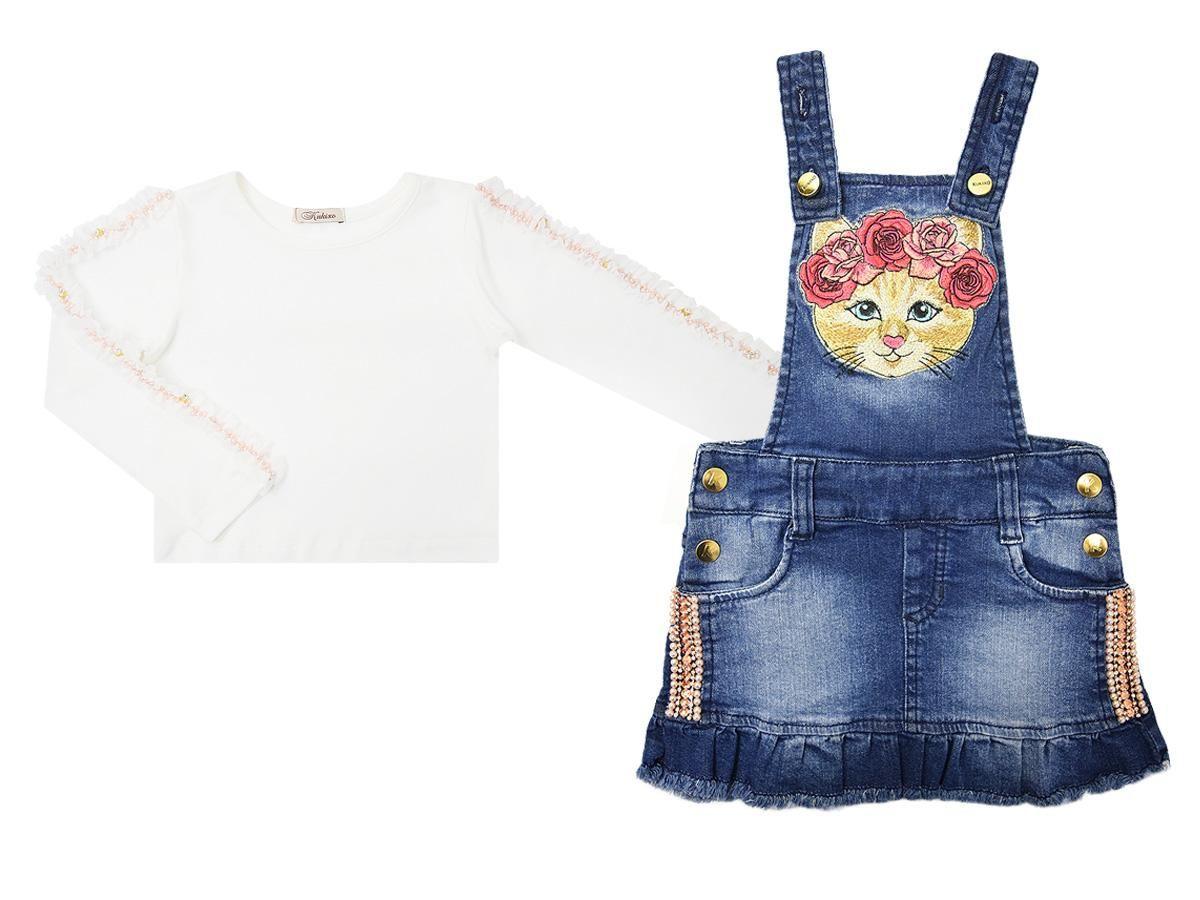 Conjunto Salopete Jeans e Blusinha Manga Longa Kukixo PP2309