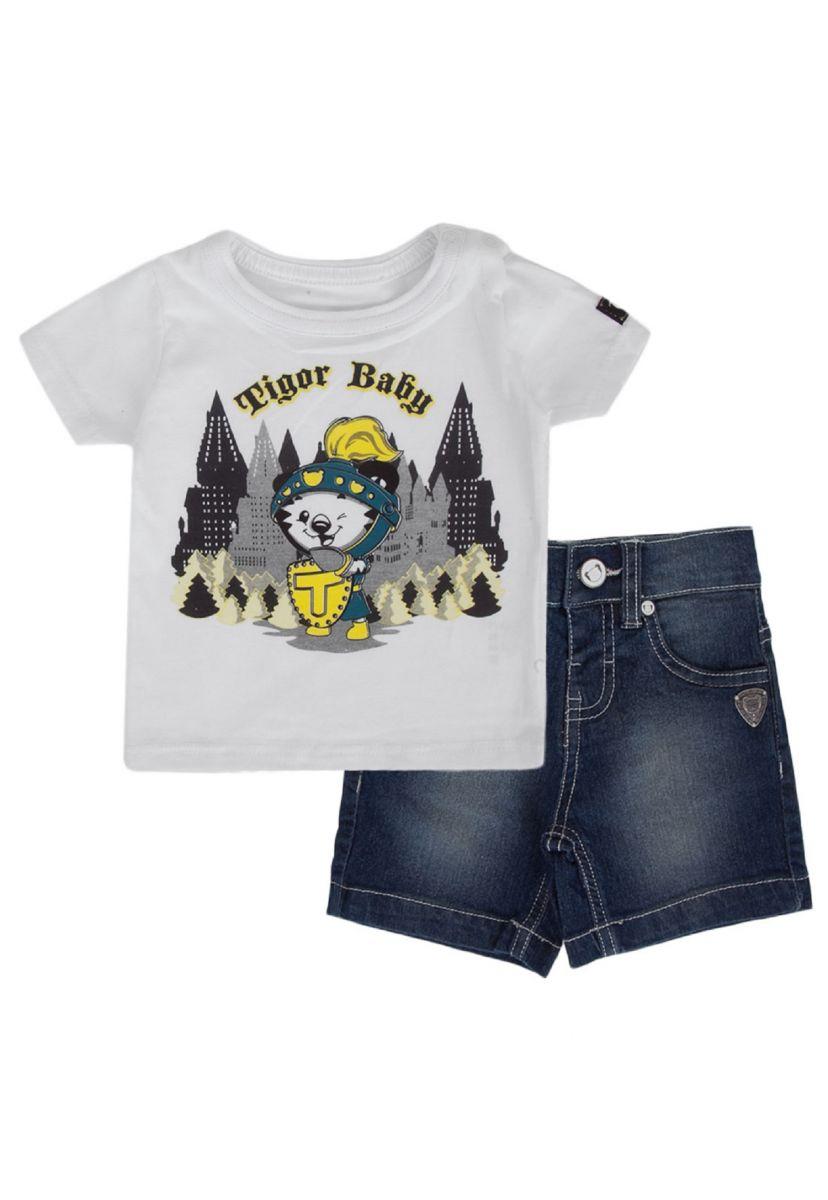 Conjunto Tigor Baby com Bermuda Jeans Gladiador